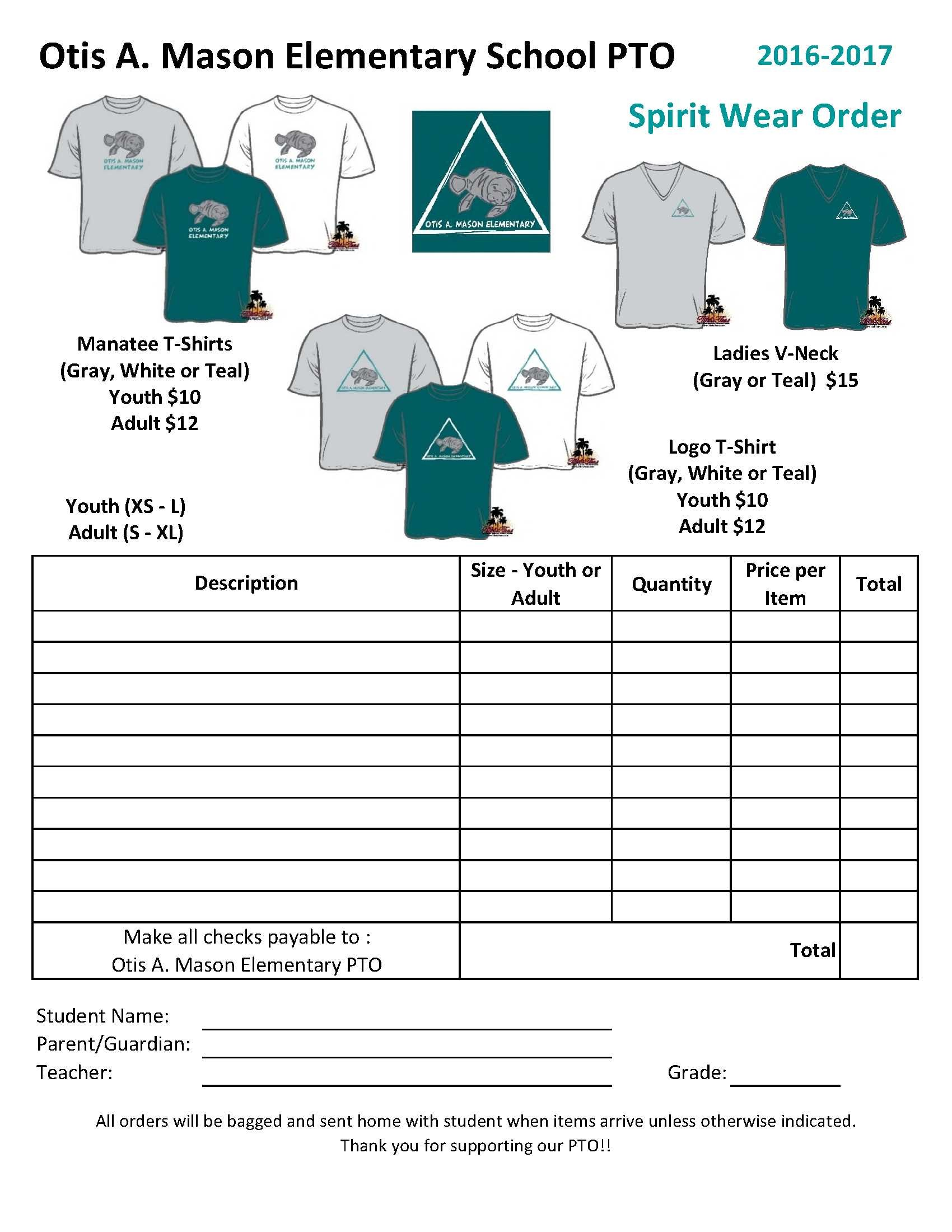 Otis A. Mason PTO Spirit Wear